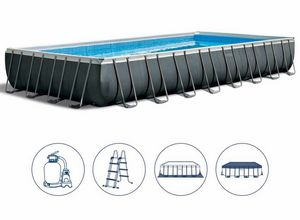Intex Swimming Pool 26374 Ex 26372 Ultra Frame Rectangular Large 975x488x132, Large inflatable pool with cover