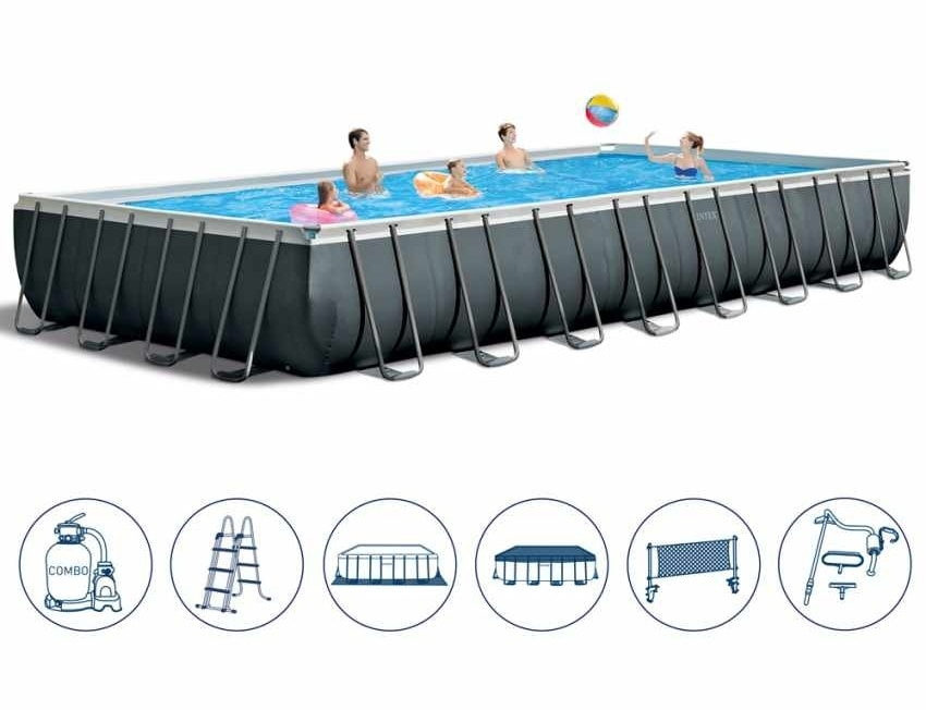 Piscina Fuori Terra Intex 26378 Ex 26376 Ultra Frame Rettangolare Volley 975x488x132, Large rectangular pool for outdoor use