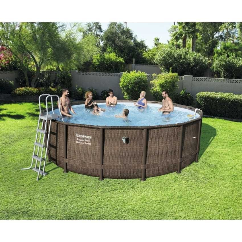 Pool Round Bestway 56666 Above Ground Power Steel Wicker Effect - 56666, Round pool above ground, fake wicker look