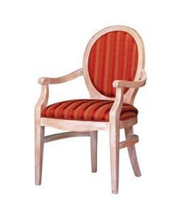 1080, Classic armchair in beech wood with oval back