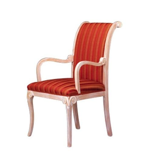 1091, Classic chair with armrests, in beech, for waiting room