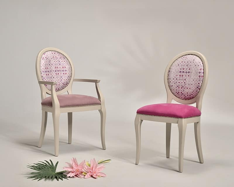 ADELAIDE chair with armrests 8030A, Chair with padded seat, for luxury restaurant