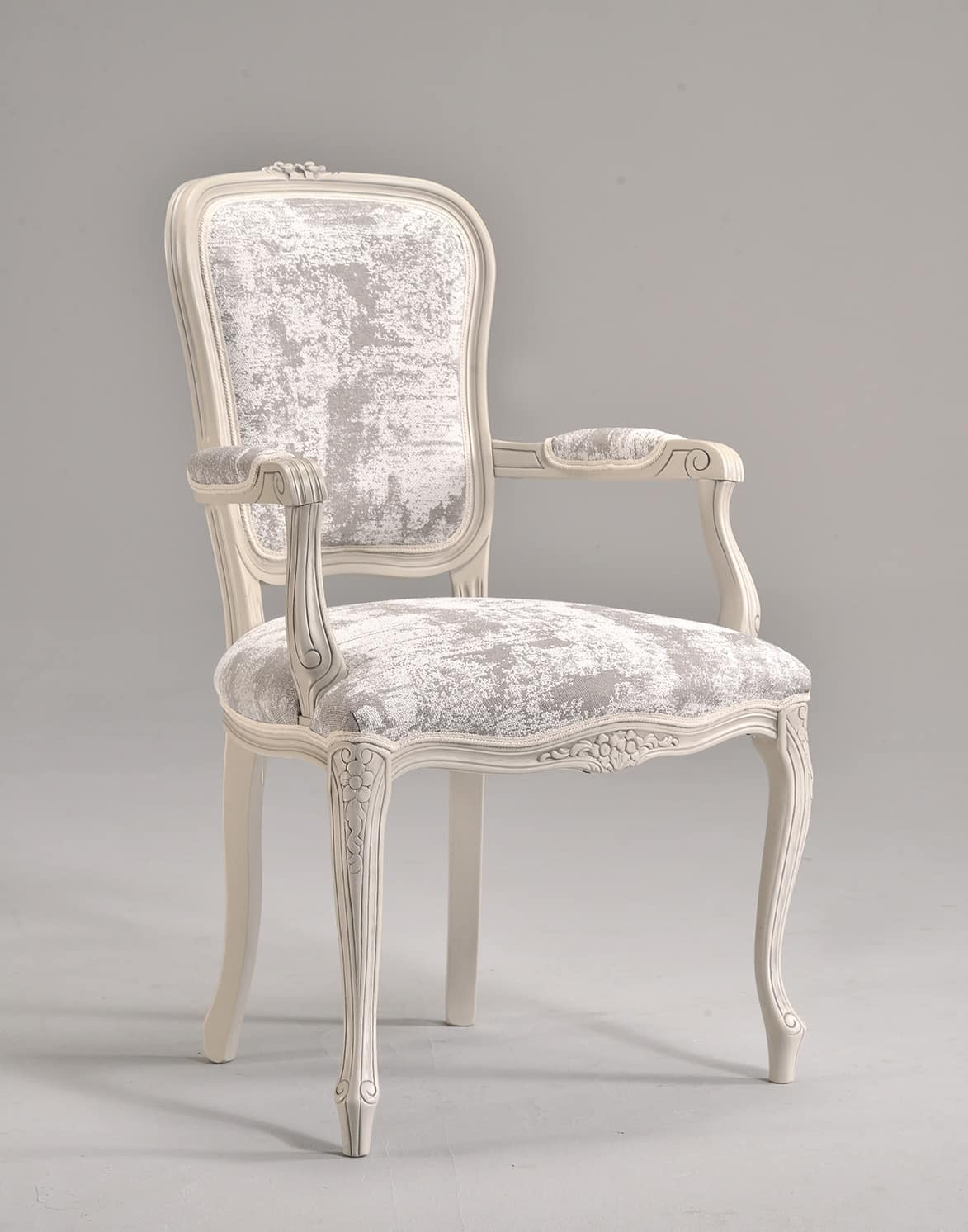 BRIANZOLA chair with armrests 8017A, Head of the table chair, upholstered, in beech, for reception