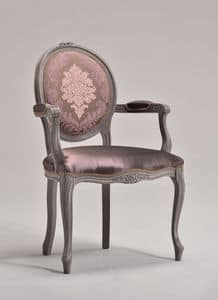 BRIANZOLA OVALE chair with armrests 8018A, Chair in Louis XV style, oval back, for hotels