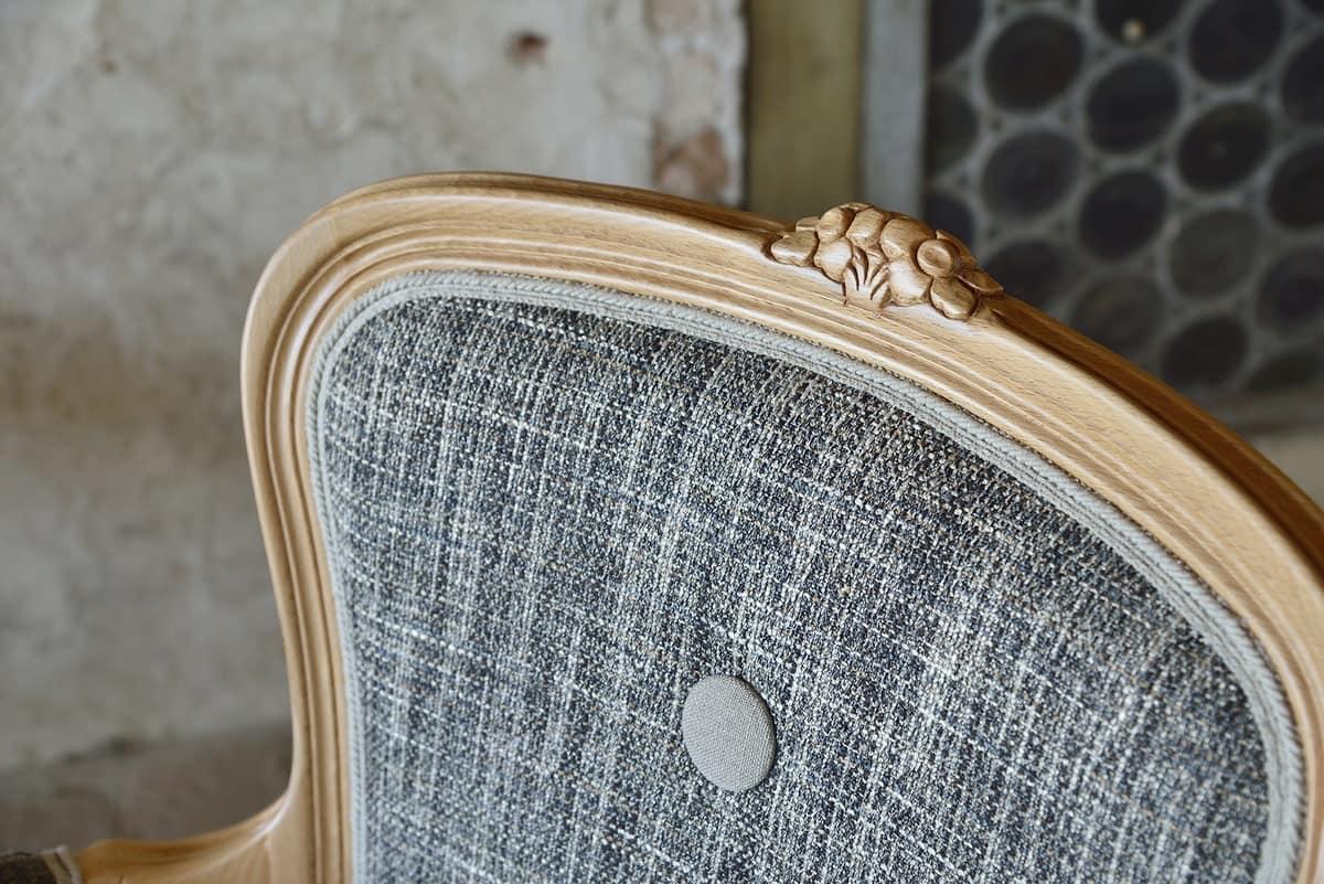 BRIANZOLO armchair 8040A, Wooden classic chair, handmade, for reception