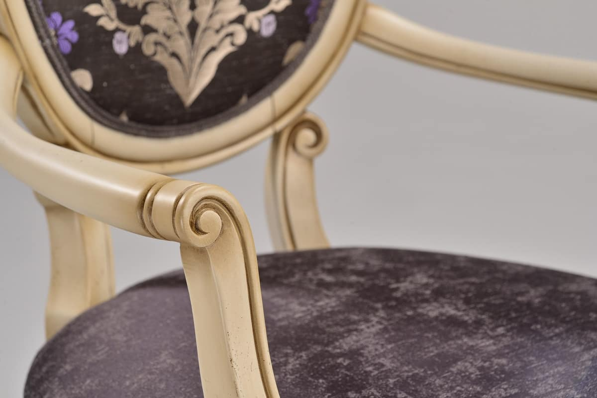 CHARLOTTE armchair 8649A, Chair with armrests, Art Nouveau style, padded