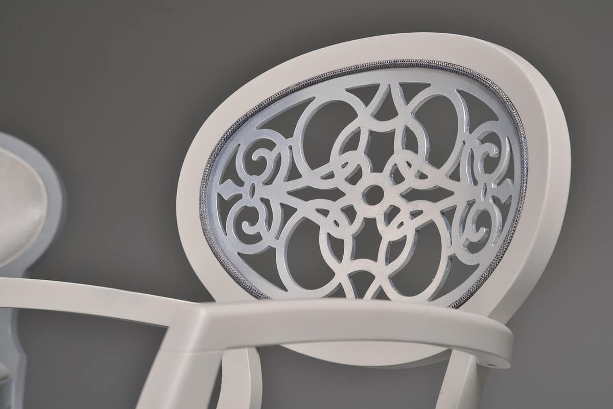 CLAIRE armchair 8391A, Armchair with carved oval back, classic style