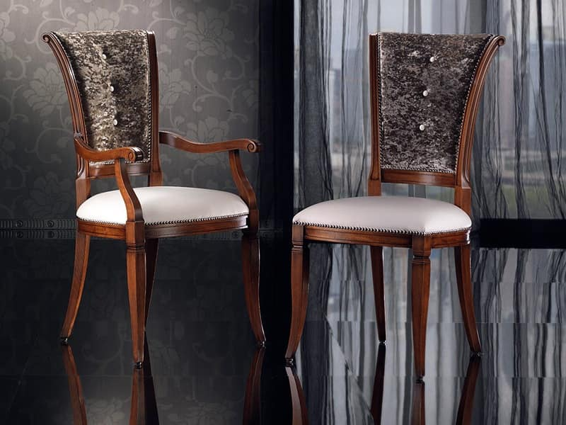 IRIS armchair 8523A, Dining chair in wood with padding, head of the table