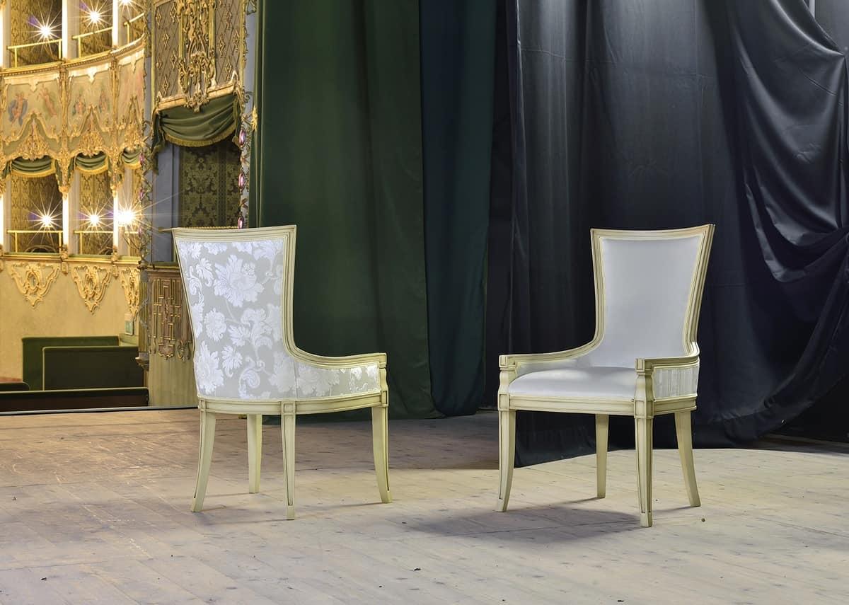 MAEVA armchair 8650A, Padded armchair in solid beech, for historic bar