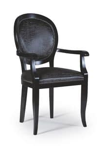 Maya chair with arms, Dining chair made of dark wood, classic style