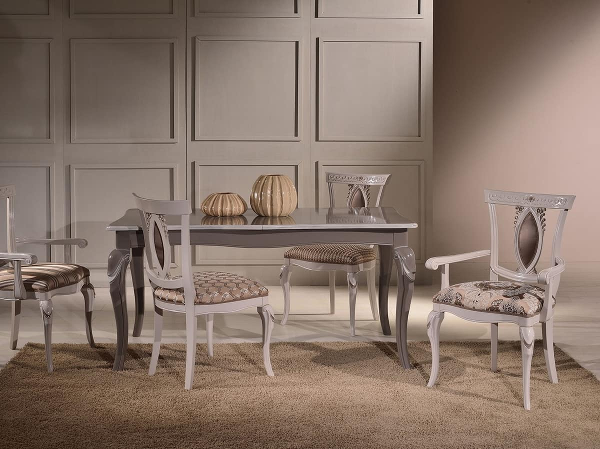 MICHY armchair 8169A, Luxury armchair with carved wooden armrests