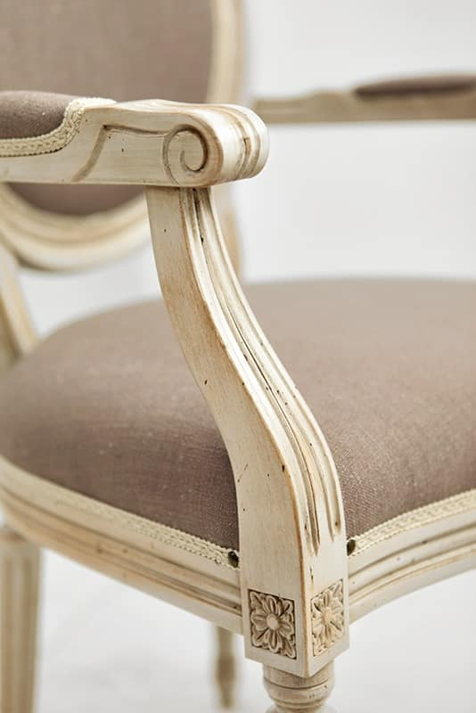 NADIR Art. 1190, Lacquered chair with armrests, padded seat