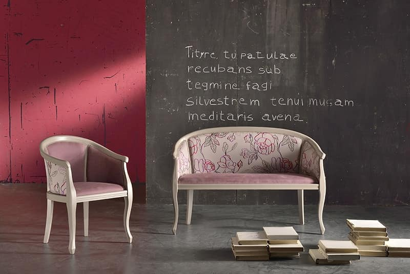 POZZETTO armchair 8032A, Luxury armchair in solid beech, for naval furniture