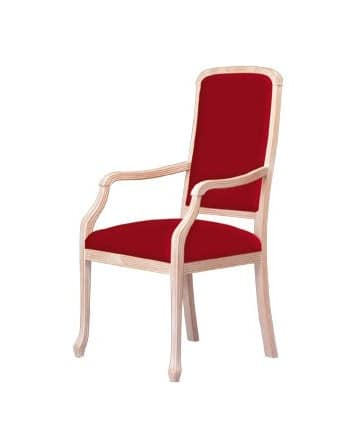 S02, Beech chair with armrests, for living rooms and restaurants