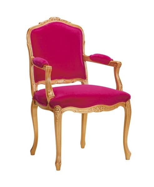 S04, Armchair in beechwood, padded, velvet covering