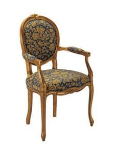 S06, Wooden chair, padded, floral pattern on the covering