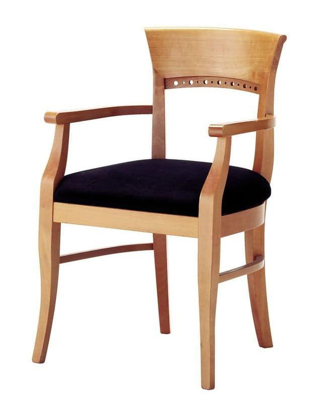 Atene P, Classic padded chair with armrests