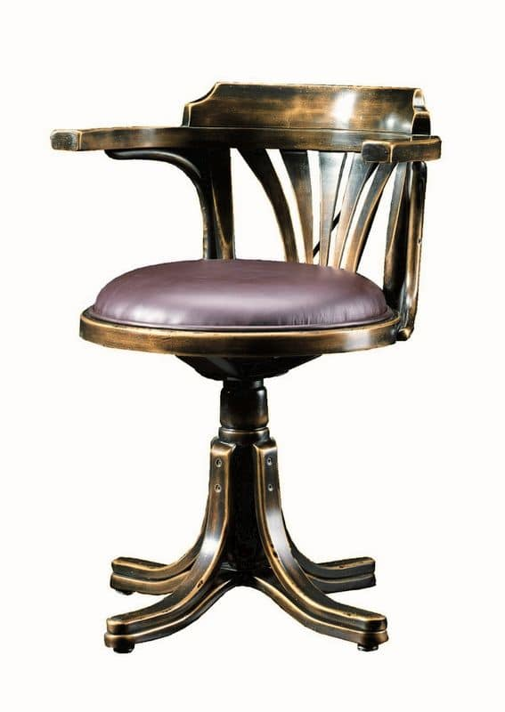Vanessa FA.0161, Bentwood swivel armchair, in luxury classic style