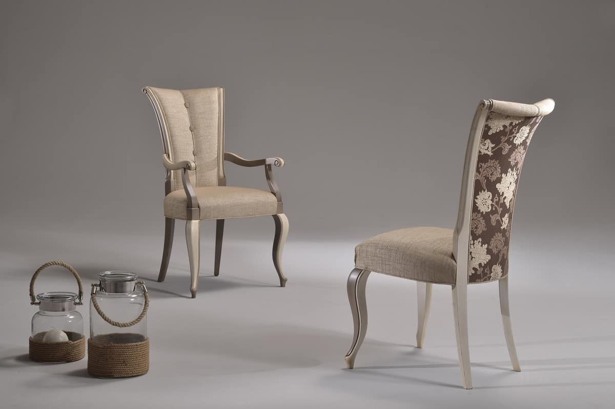 VANNA armchair 8644A, Elegant chair with armrests, upholstered in fabric, for reading room