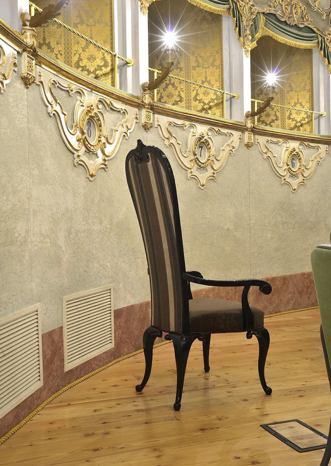 VIVIAR chair with armrests 8623A, Padded armchair, high back, neoclassical style