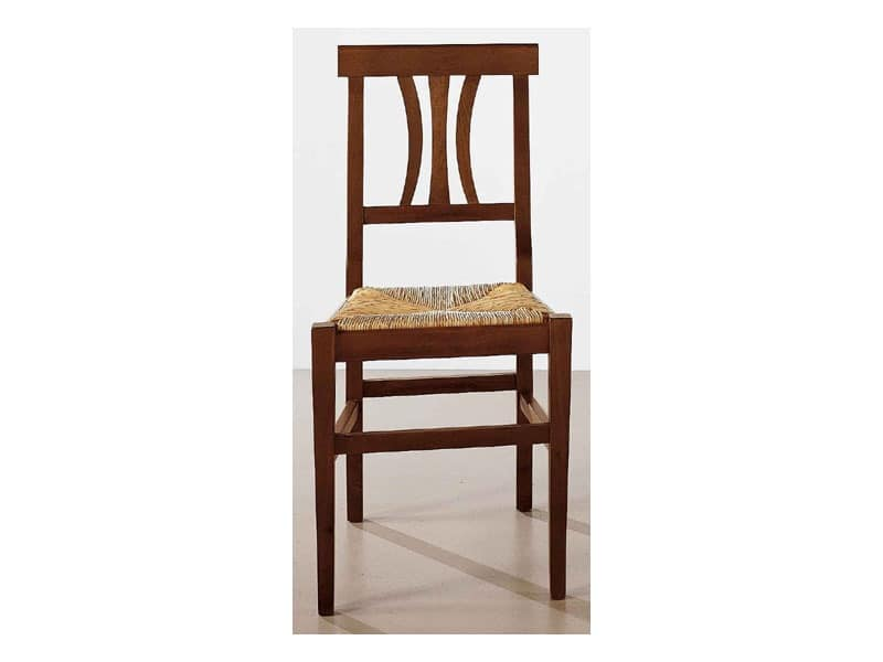 112, Dining chair in solid wood, straw seat