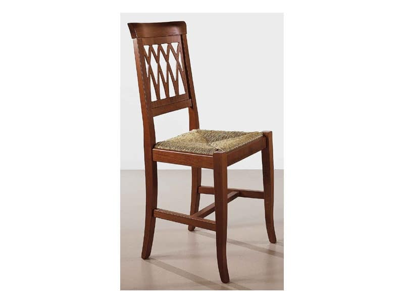 157, Rustic chair, back worked, for living area
