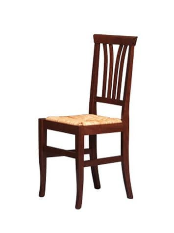 186, Rustic chair in beech wood, straw seat, for bars