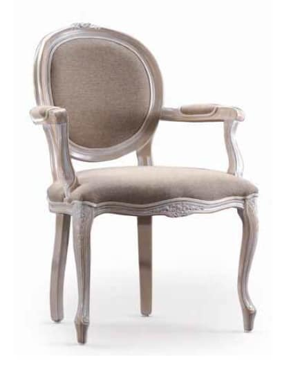 Ginevra-P, Chair with armrests, for classical furnishings