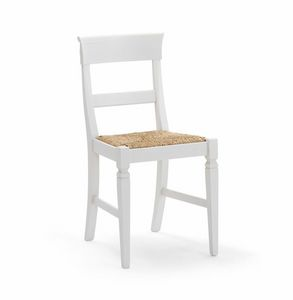IMPERIALE 700, White chair with straw seat