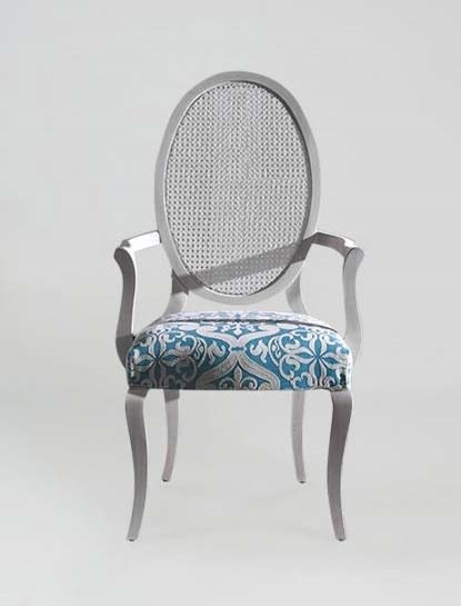 S16PCANNA, Chair with armrests, oval cane back