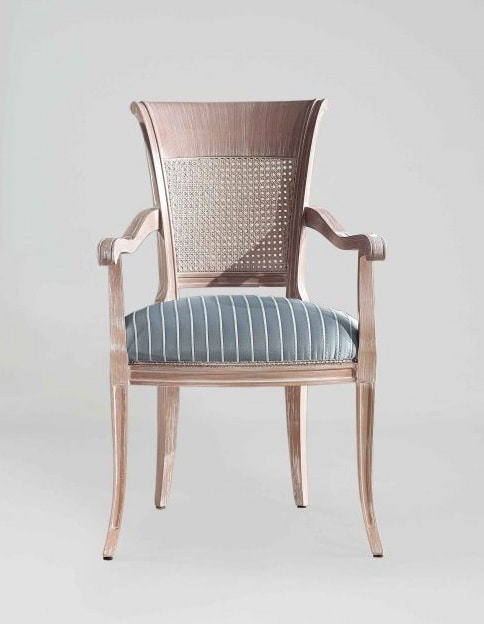 S18P, Classic chair with armrests, cane back