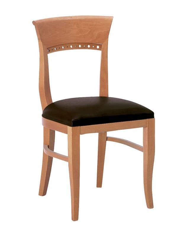 Atene S, Wooden chair with padded seat with classic lines