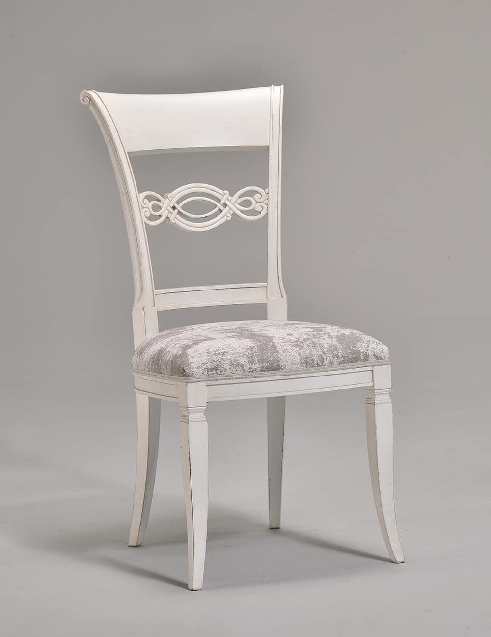 CHIMERA chair 8524S, Classic style chair with carved wooden backrest