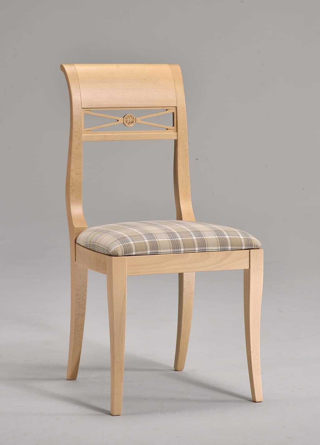 EVA chair 8016S, Chair with upholstered seat, in beech, woven pattern