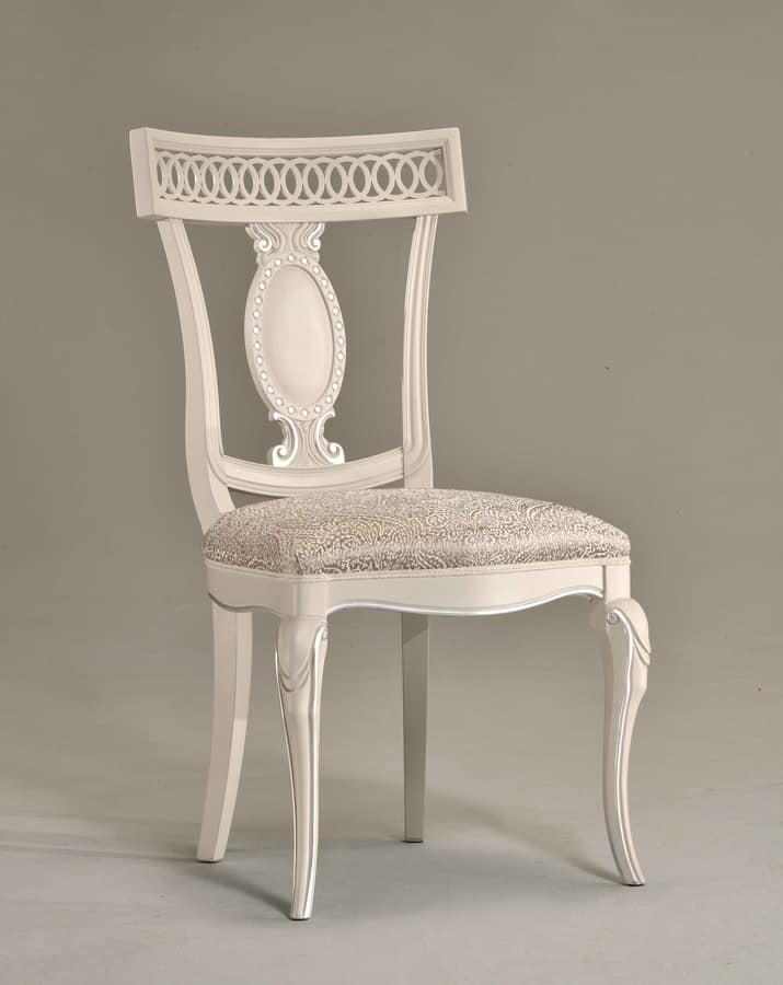 KAREN chair 8283S, Wooden chair with leather seat, carved backrest