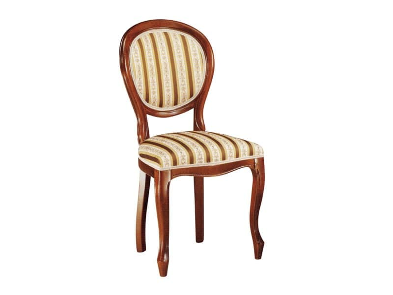 113, Chair for dining room, made of wood with upholstered seat