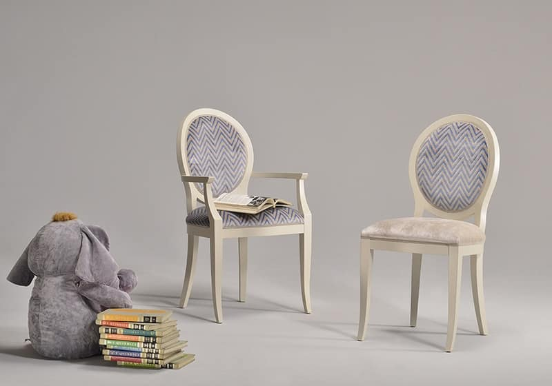 KORA chair 8304S, Classic style chair with upholstered seat and backrest