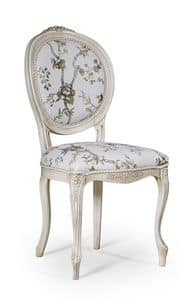 Rossella, Classic style chair without armrests, for dining room