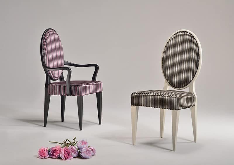 YVONNE armchair 8615A, Neoclassical chair in various colors, for waiting room