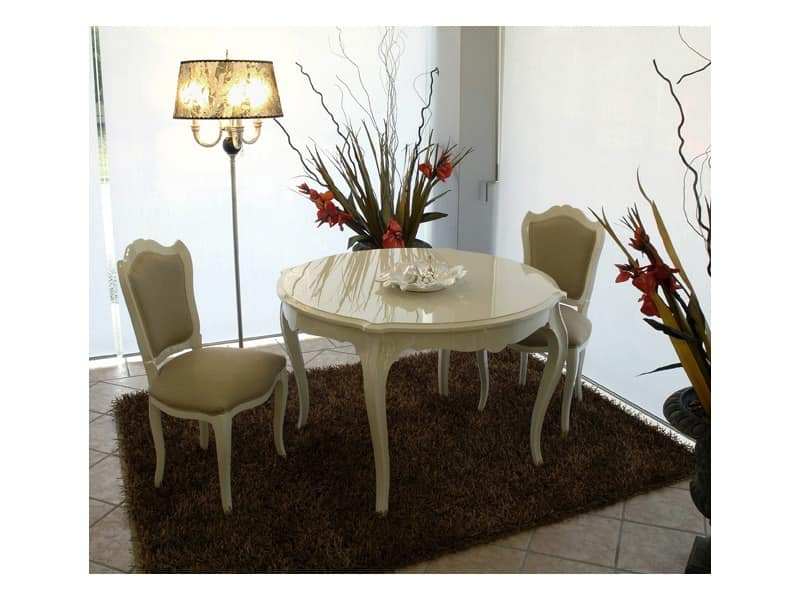 3520 TABLE, Classic contemporary table, glossy lacquered