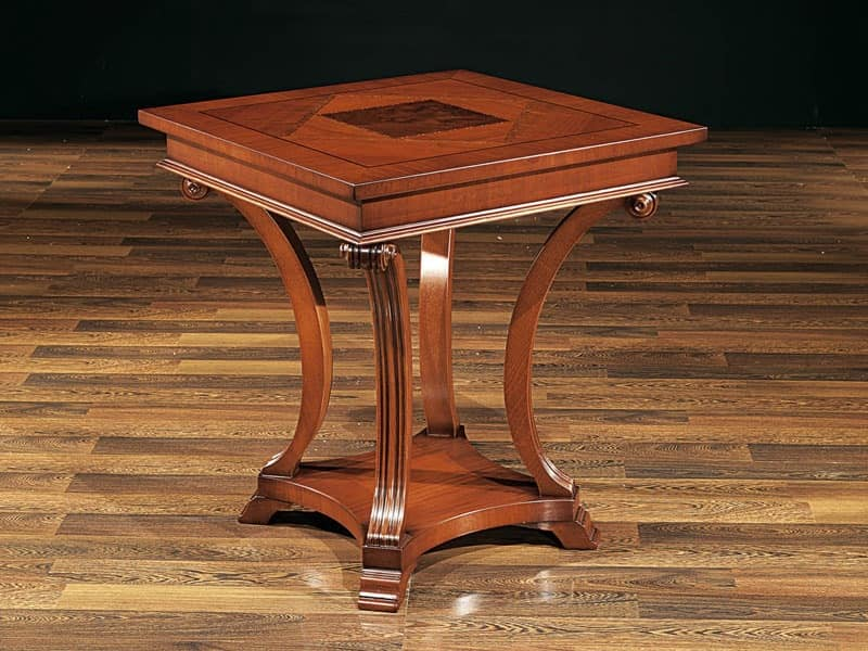 ALFRED table 8451T, Beech table with carved legs, classic style