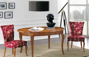 Art. 90, Solid wood table, with oval top