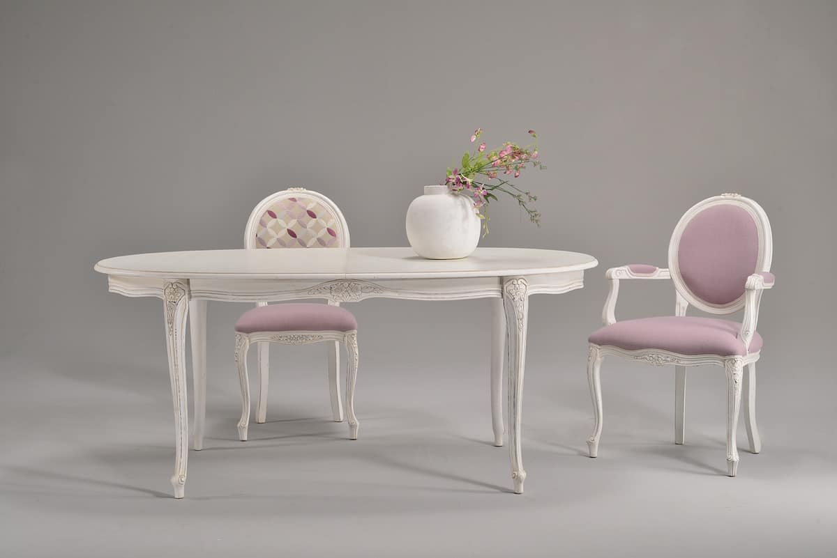 BRIANZOLO table 8498T, Oval table decorated, in beech, for classic kitchens