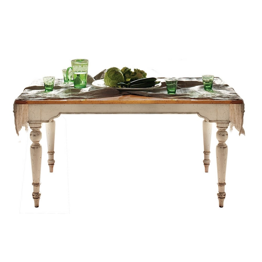 Brigitte BR.0110.A, Rectangular table with turned legs and wooden top