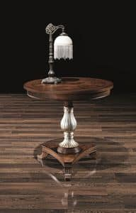 DUCA lamp table 8680T, Round table in wood, with decorated column, for hotels