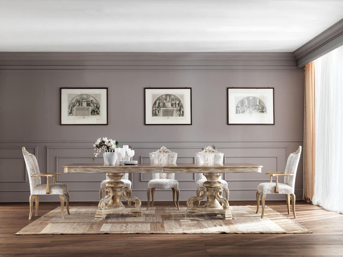 JADORE table 8620T, Stately dining table, in solid wood, with classic style