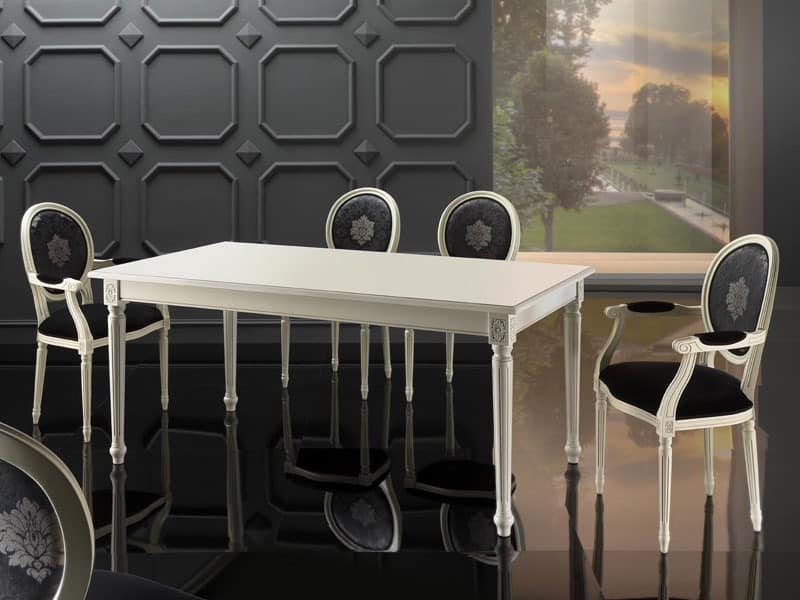 LUIGI XVI RECTANGULAR table 8527T, Classic extending table, in beech, for luxurious kitchen