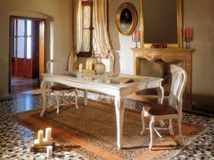 MALENE table 8124T, Gustavian style table, wooden structure and glass top