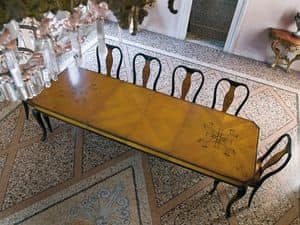 QUEEN ANNE table, Rectangular table for dining room, with fine wood inlays