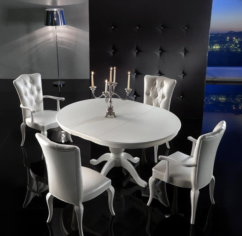 ROYAL table 8494T, Deluxe round table, extendable, for kitchens
